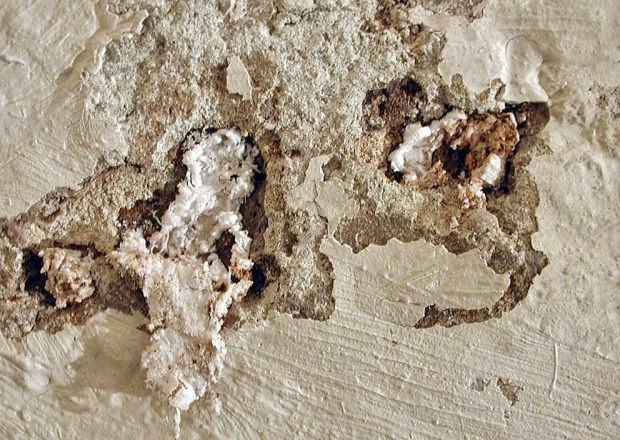 "Porous ""crusts"" of salt: A growing mass of salt, including whiskers and needles, has lifted and destroyed lime plaster and limewash. Archbishop's Palace, Trondheim, Norway. Width of image c. 3 cm. Photo by Per Storemyr"