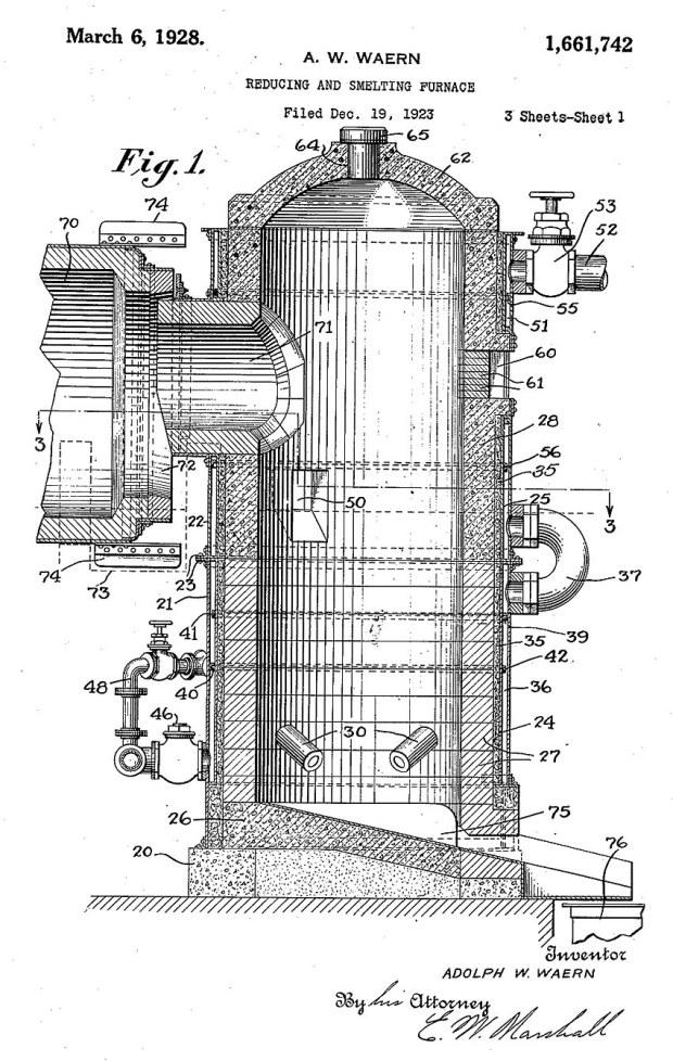 Tegning av patentert smelteovn for gjenvinning av kjemikalier fra avfall i cellulosefabrikkene. US Patent no. US1661742 (Adolph W. Waern, 1928). «Skallet» i ovnen er i hovedsak laget av kleberstein satt i betong.