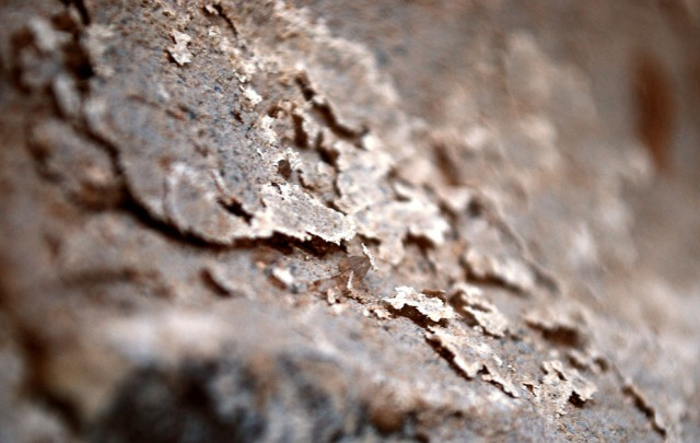 Close-up of scales at the lime mortar on the Millstone Park limekiln. The scale are 1-3 mm thick. Photo by Per Storemyr