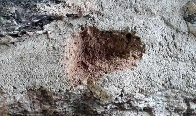 Poorly hardened lime mortar (brownish) at the Millstone Park limekiln in October 2018, below a light layer of hardened/carbonised at the surface. The mortar was applied in August 2018. Photo by Per Storemyr