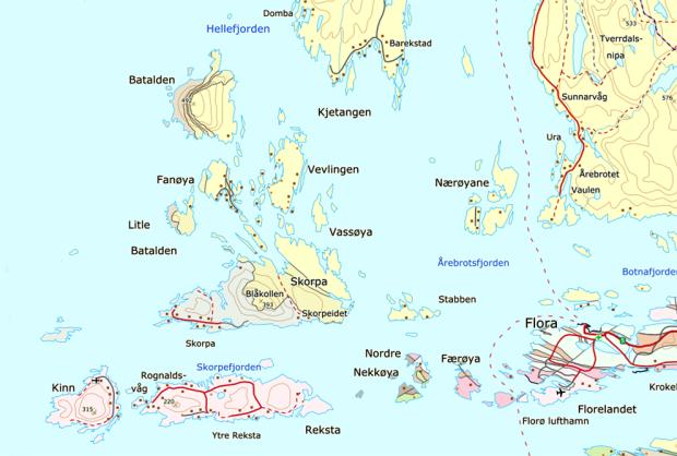 Utsnitt av det geologiske kartet for området rundt Kinn og Florø. Rose er gneis og gult er devonsk sandstein. Kart: NGU