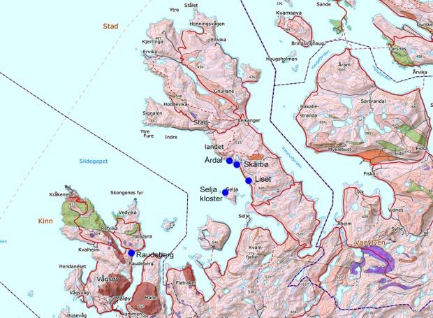 Geologien omkring Selja og stder nevnt i artikkelen (rose er gneis, fiolett er olivinstein, brunt er mangerittsyenitt, grønt er amfibolitt og glimerskifer)
