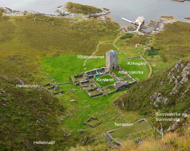 De ulike deler av Selja kloster og helgenanlegg. Foto: Per Storemyr