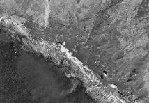 Steinkonstruksjoner sett fra lufta: Skårbø i 1968. Foto: Norge i bilder
