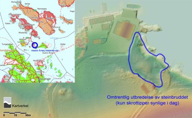 Kart over kleberbruddet på Vestre Åmøy. Grunnkart: Lidardata fra https://hoydedata.no/LaserInnsyn/. Innfelt: Geologisk kart over området, fra http://geo.ngu.no/kart/berggrunn_mobil/