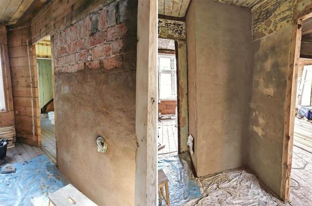 Murene er ferdig spekket i fugene og har fått et pusslag av beige Hyllestadkalk. Foto: Berit Bruvik