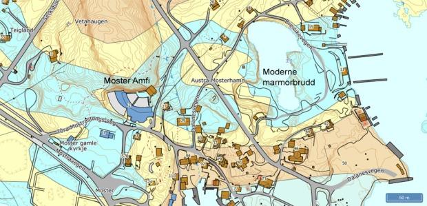 Geologisk kart over en del av Mosterhamn. Lyseblått er marmor. Praktisk talt all marmor i området har vært gjenstand for steinbrytning. Kilde: NGU